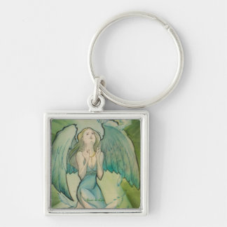 Angel of Peace Silver-Colored Square Keychain
