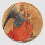 "Angel of the Annunciation c1437 Classic Round Sticker<br><div class=""desc"">Christian fine art depicting kneeling angel with hands clasped.  Painting on a golden circle by Italian artist  Fra Angelico c1437.</div>"