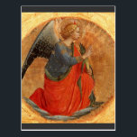 """Angel of the Annunciation c1437 Postcard<br><div class=""""desc"""">Christian fine art depicting kneeling angel with hands clasped.  Painting on a golden circle by Italian artist  Fra Angelico c1437.</div>"""