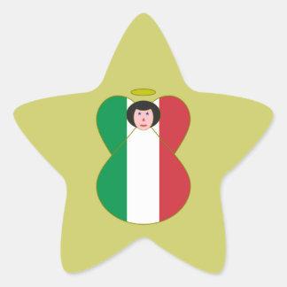 Angel of the Italian Flag Black Hair Star Stickers