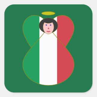 Angel of the Italian Flag Black Hair Square Sticker