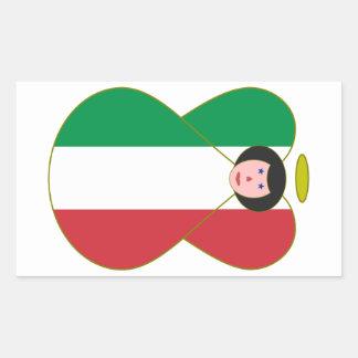 Angel of the Italian Flag Black Hair Rectangle Sticker