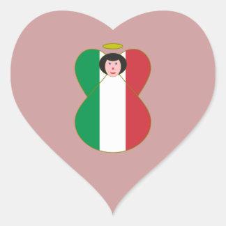 Angel of the Italian Flag Black Hair Heart Stickers
