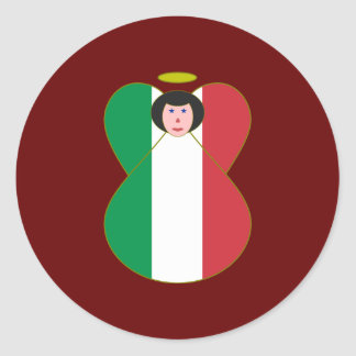 Angel of the Italian Flag Black Hair Sticker