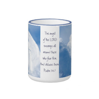 Angel of the Lord Encamps around You, Psalm 34:7 Ringer Coffee Mug