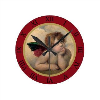 Angel of the Sistine Madonna by Raphael Round Clock