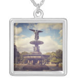 Angel of the Waters, Bethesda Fountain, Central Pa Square Pendant Necklace