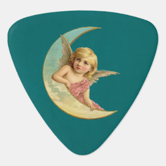 Angel on a crescent moon vintage image guitar pick