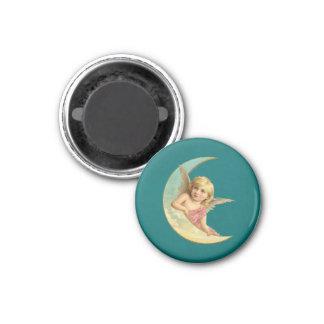 Angel on a crescent moon vintage image fridge magnets