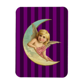 Angel on a crescent moon vintage image magnet
