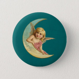 Angel on a crescent moon vintage image pinback button