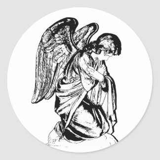 Angel on any color classic round sticker