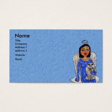 Professional Business Angel on Cloud Holding Angel Cat Light Blue Business Card