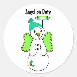 Angel on Duty Classic Round Sticker
