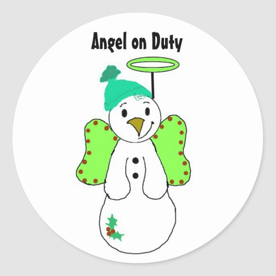 Angel on Duty Classic Round Sticker