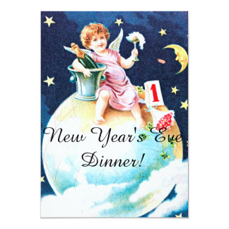 Angel on Earth with Flowers New Year's Eve Party Card
