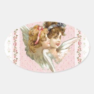 Angel on pink flowered background sticker