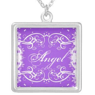 """Angel"" on purple flourish swirls necklace"