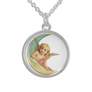 Angel on the Moon Sterling Silver Necklace