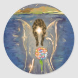 Angel On The Water Round Stickers