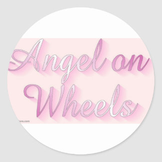 angel_on_wheels classic round sticker