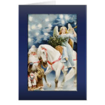 Angel on White Horse Greetings Card