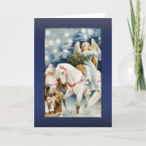 Angel on White Horse Greetings Holiday Card