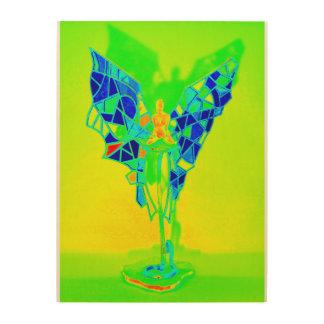 Angel on yellow wood print