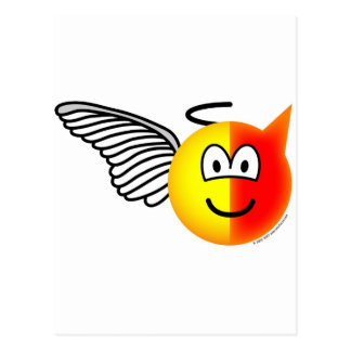 Angel or devil emoticon postcard