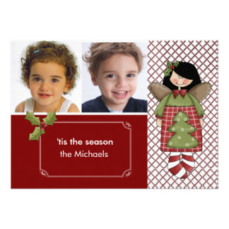 Angel Ornament Holiday Photo Card Announcement