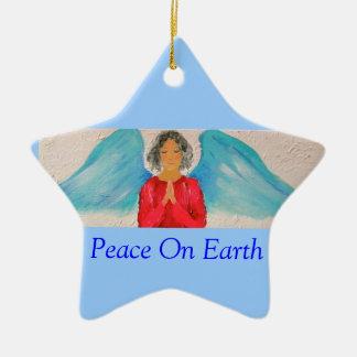 Ángel-ornamento del navidad adorno navideño de cerámica en forma de estrella