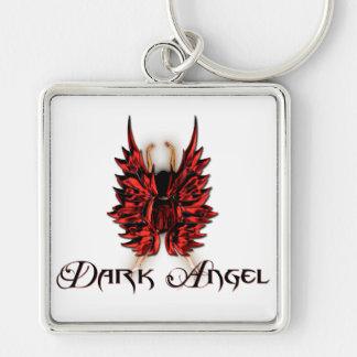 Ángel oscuro en rojo y negro llavero cuadrado plateado