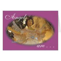 Angel oval on Purple  customize Greeting Card