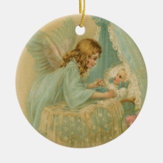 Angel over Baby in Bassinet Ceramic Art Ornament