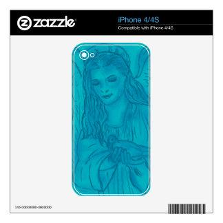 Ángel pacífico en azul calcomanía para el iPhone 4