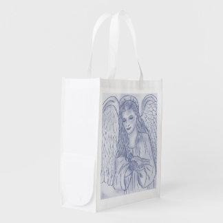 Ángel pacífico en azul oscuro bolsa para la compra