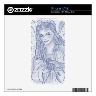 Ángel pacífico en azules oscuros calcomanías para iPhone 4