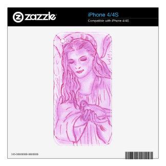 Ángel pacífico en rosa calcomanías para iPhone 4S