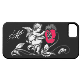 ANGEL PAINTING A PINK FLOWER,MONOGRAM ,Black iPhone SE/5/5s Case
