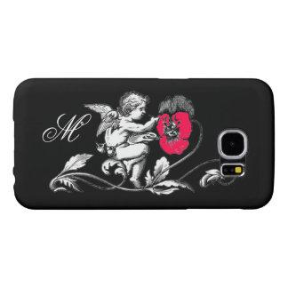 ANGEL PAINTING A PINK FLOWER,MONOGRAM ,Black Samsung Galaxy S6 Case