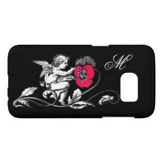 ANGEL PAINTING A PINK FLOWER,MONOGRAM ,Black Samsung Galaxy S7 Case