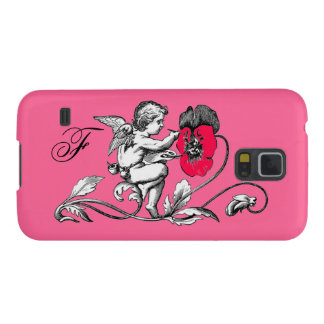 ANGEL PAINTING A PINK FLOWER,MONOGRAM CASE FOR GALAXY S5
