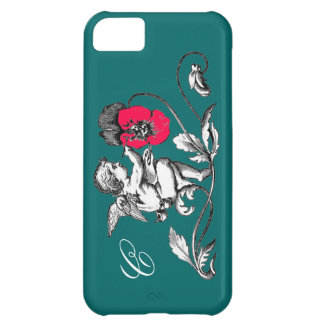 ANGEL PAINTING A PINK FLOWER,MONOGRAM ,Green Cover For iPhone 5C