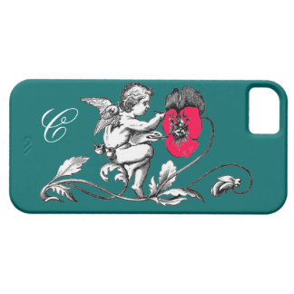 ANGEL PAINTING A PINK FLOWER,MONOGRAM ,Green iPhone SE/5/5s Case