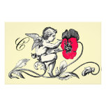 ANGEL PAINTING A PINK FLOWER MONOGRAM STATIONERY