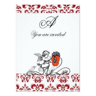 ANGEL PAINTING A RED FLOWER DAMASK MONOGRAM CARD