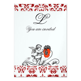 ANGEL PAINTING A RED FLOWER DAMASK MONOGRAM ice Card