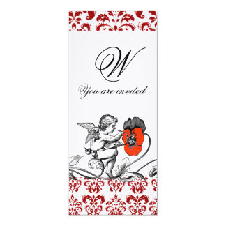 ANGEL PAINTING A RED FLOWER DAMASK MONOGRAM linen Card