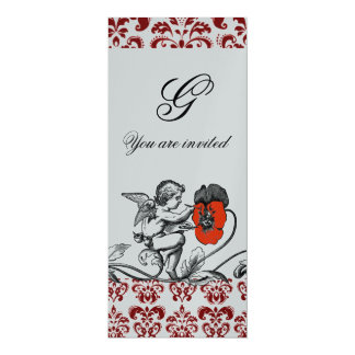 ANGEL PAINTING A RED FLOWER DAMASK MONOGRAM silver Card