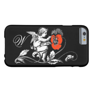 ANGEL PAINTING A RED FLOWER,MONOGRAM ,Black Barely There iPhone 6 Case